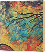 Abstract Art Original Landscape Painting Go Forth I By Madart Studios Wood Print