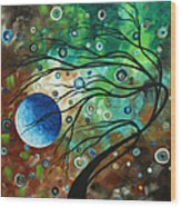Abstract Art Original Landscape Painting Mint Julep By Madart Wood Print