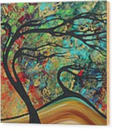 Abstract Art Original Landscape Wild Abandon By Madart Wood Print