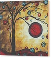 Abstract Art Original Metallic Gold Landscape Painting Freedom Of Joy By Madart Wood Print
