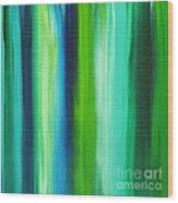 Abstract Art Original Textured Soothing Painting Sea Of Whimsy Stripes I By Madart Wood Print by Megan Duncanson