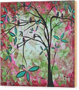 Abstract Art Original Whimsical Magical Bird Painting Through The Looking Glass  Wood Print