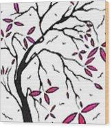 Abstract Artwork Modern Original Landscape Pink Blossom Tree Art Pink Foliage By Madart Wood Print by Megan Duncanson