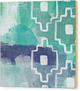 Abstract Aztec- Contemporary Abstract Painting Wood Print