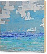 Silver Sky Beach Wood Print
