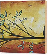 Abstract Bird Landscape Tree Blossoms Original Painting Family Of Three Wood Print