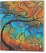 Abstract Bird Painting Original Art Madart Tree House Wood Print