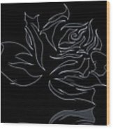 Abstract Black Rose  Wood Print