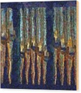 Abstract Blue And Gold Organ Pipes Wood Print