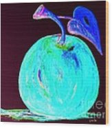 Abstract Blue And Teal Apple On Black Wood Print