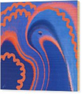 Abstract Blue Bird Wood Print