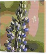 Abstract Blue Lupine Wood Print