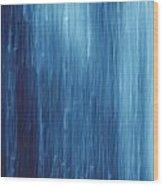 Abstract Blue Rain Wood Print