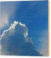 Abstract Blue Sky And Cloud Wood Print