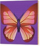 Butterfly Graphic Orange Pink Purple Wood Print