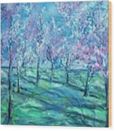 Abstract Cherry Trees Wood Print