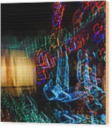Abstract Christmas Lights - Color Twists And Swirls  Wood Print