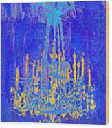 Abstract Cobalt Blue Chandelier Wood Print