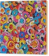 Abstract Colorful Flowers 1 - Paint Joy Series Wood Print