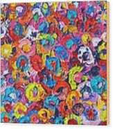 Abstract Colorful Flowers 3 - Paint Joy Series Wood Print