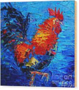 Abstract Colorful Gallic Rooster Wood Print