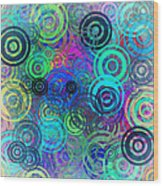 Abstract Colorful Rings Wood Print