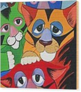 Abstract Colorful Sleepy Cats Wood Print