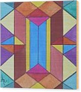 Abstract Colorful Stained Glass Window Design  Wood Print