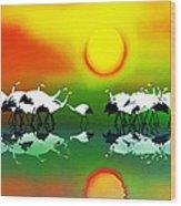 Abstract Crane Bird V1  Wood Print