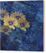 Abstract Daisies On Blue Wood Print by Ann Powell