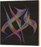 Abstract Dancers Wood Print