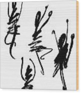 Abstract Dancers In Black And White Wood Print