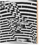 Abstract Distortion Keep Your Fingers Crossed Maze Wood Print