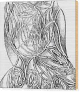 Abstract Drawing Owl Hands Roses Wood Print