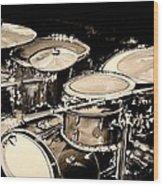 Abstract Drum Set Wood Print