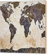 Abstract Earth Map Wood Print