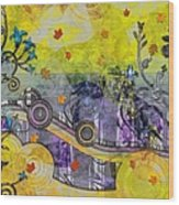 Abstract - Falling Leaves Wood Print