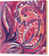 Abstract Floral Design Purple Note Wood Print