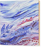 Abstract Floral Marble Waves Wood Print