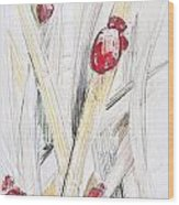 Abstract Floral Painted Background With Ladybugs Wood Print
