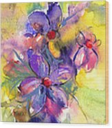 abstract Flower botanical watercolor painting print Wood Print