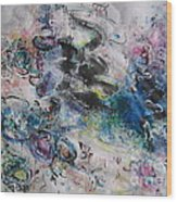 Abstract Flower Field Painting Blue Pink Green Purple Black Landscape Painting Modern Acrylic Pastel Wood Print