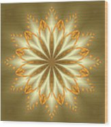Abstract Flower In Gold And Silver Wood Print