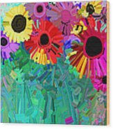 abstract - flowers- Flower Power Four Wood Print