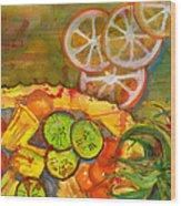 Abstract Food Kitchen Art Wood Print