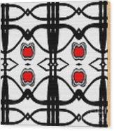 Abstract Geometric Black White Red Pattern Art No.173. Wood Print