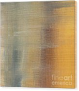 Abstract Golden Yellow Gray Contemporary Trendy Painting Fluid Gold Abstract I By Madart Studios Wood Print