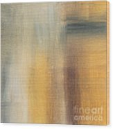 Abstract Golden Yellow Gray Contemporary Trendy Painting Fluid Gold Abstract II By Madart Studios Wood Print