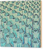 Abstract Green Glass Bottles Wood Print