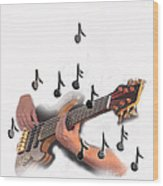 Abstract Guitar Player Wood Print
